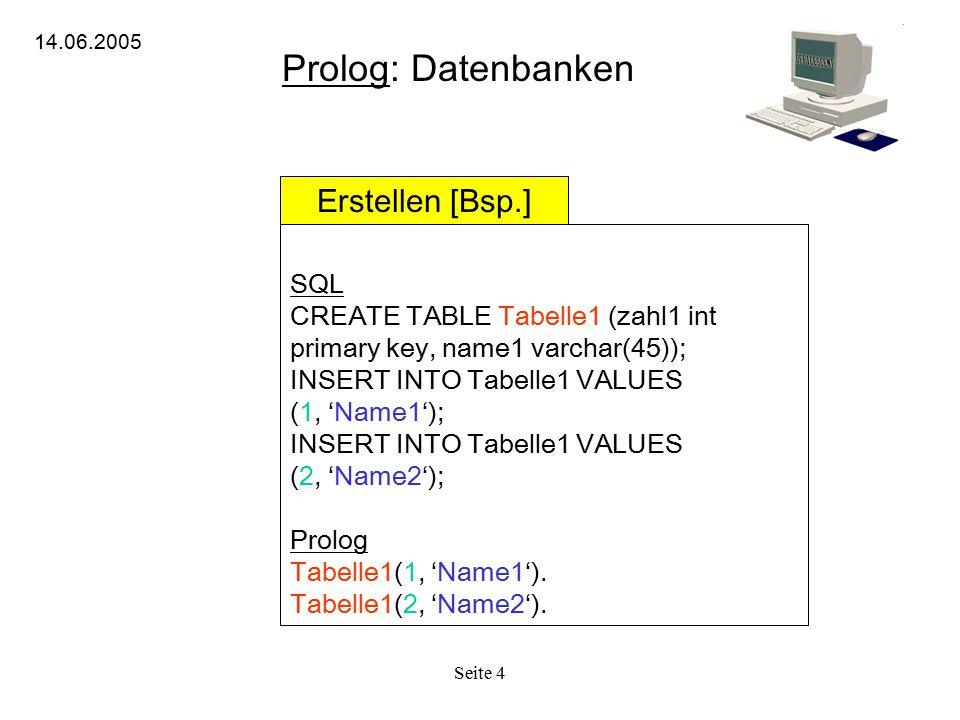 Prolog: Datenbanken Erstellen [Bsp.] SQL
